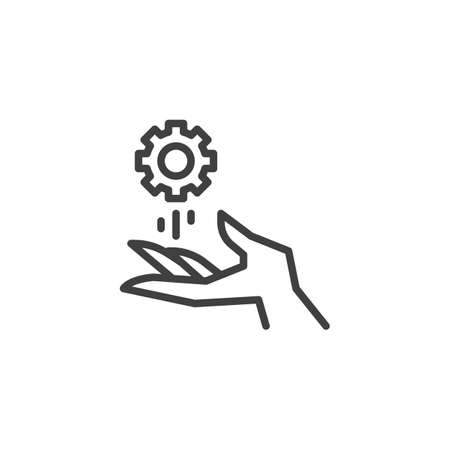 Technical support service line icon. linear style sign for mobile concept and web design. Hand and gear outline vector icon. Symbol, logo illustration. Vector graphics