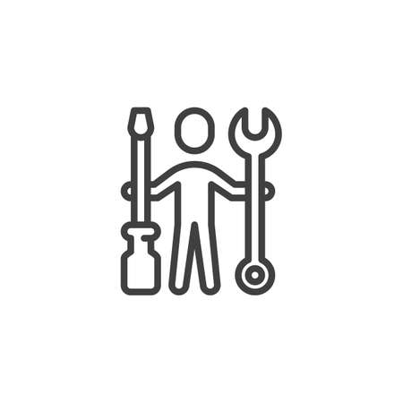 Man with wrench and screwdriver line icon. Repairman service linear style sign for mobile concept and web design. Technical support outline vector icon. Symbol, logo illustration. Vector graphics