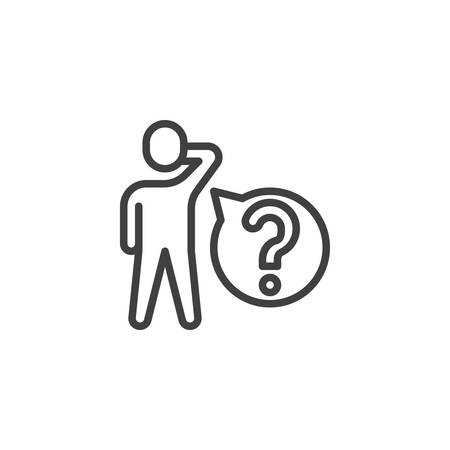 Man with question speech bubble line icon. Customer Service linear style sign for mobile concept and web design. Help, Support outline vector icon. Symbol, logo illustration. Vector graphics