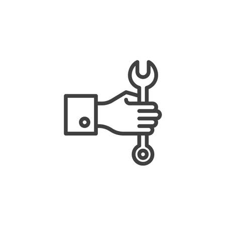 Hand with wrench line icon. Mechanic maintenance linear style sign for mobile concept and web design. Customer service outline vector icon. Symbol, logo illustration. Vector graphics