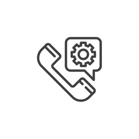 Service call line icon. Telephone and settings gear bubble linear style sign for mobile concept and web design. Technical support service outline vector icon. Symbol logo illustration. Vector graphics Zdjęcie Seryjne - 130172610
