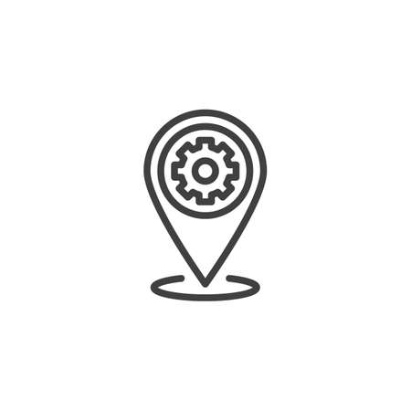 Technical service location pin line icon. Repair service map marker linear style sign for mobile concept and web design. Map Pointer Gear outline vector icon. Symbol illustration. Vector graphics