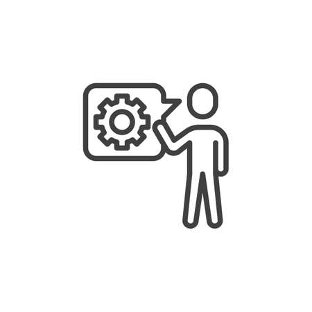 Customer service line icon. Technical support linear style sign for mobile concept and web design. Man and speech bubble with gear outline vector icon. Symbol, logo illustration. Vector graphics