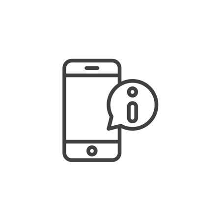 Mobile phone support message line icon. linear style sign for mobile concept and web design. Smartphone with information speech bubble outline vector icon. Symbol, logo illustration. Vector graphics