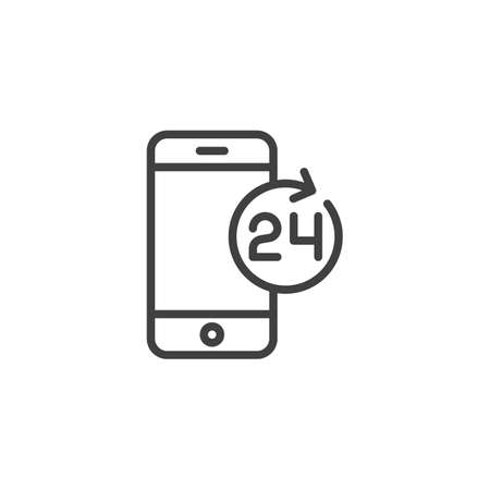 24 hours mobile service line icon. linear style sign for mobile concept and web design. Smartphone 24 technical support outline vector icon. Symbol, logo illustration. Vector graphics Zdjęcie Seryjne - 130172626
