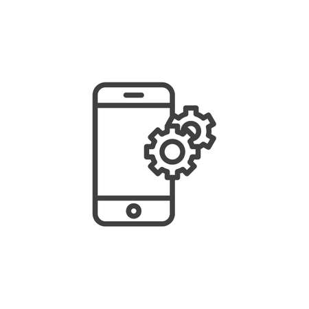 Phone Support line icon. Smartphone with gears linear style sign for mobile concept and web design. Mobile settings outline vector icon. Technical support symbol, logo illustration. Vector graphics Zdjęcie Seryjne - 130172635