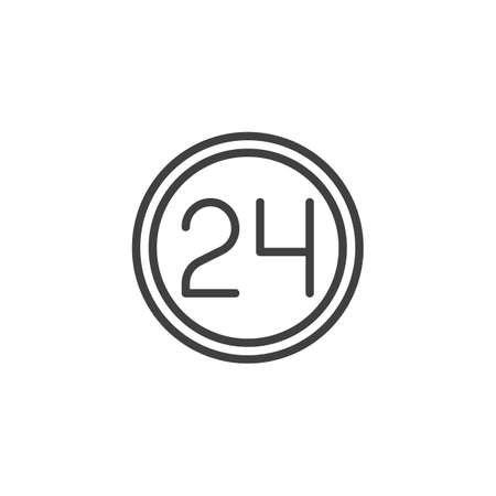 24 hours service line icon. linear style sign for mobile concept and web design. Twenty four hour outline vector icon. Symbol,  illustration. Vector graphics