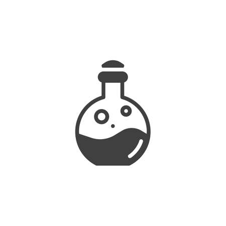 Poison bottle vector icon. Chemical flask filled flat sign for mobile concept and web design. Elixir bottle glyph icon. Symbol, illustration. Vector graphics