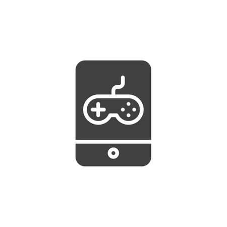 Online gaming vector icon. filled flat sign for mobile concept and web design. Mobile phone with game controller glyph icon. Symbol,  illustration. Vector graphics Illusztráció