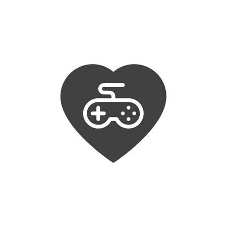 Favorite game vector icon. filled flat sign for mobile concept and web design. Heart with game controller, joystick glyph icon. Symbol,  illustration. Vector graphics  イラスト・ベクター素材