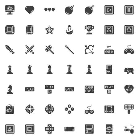 Video game elements vector icons set, modern solid symbol collection, filled style pictogram pack. Signs, illustration. Set includes icons as game console controller, computer keyboard and mouse