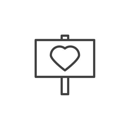 Heart signboard line icon. linear style sign for mobile concept and web design. Love peace outline vector icon. Valentine day symbol, logo illustration. Vector graphics