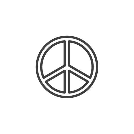 Peace sign line icon. linear style sign for mobile concept and web design. International peace day outline vector icon. Pacifism symbol, logo illustration. Vector graphics