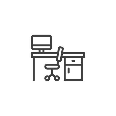 Office workplace line icon. linear style sign for mobile concept and web design. Working computer desk with office chair outline vector icon. Symbol, logo illustration. Vector graphics Archivio Fotografico - 129808410