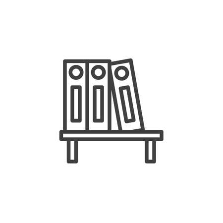 Bookshelf with office folders line icon. linear style sign for mobile concept and web design. Binders on shelf outline vector icon. Symbol, illustration. Vector graphics