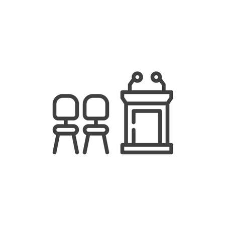 Chairs and speaker podium line icon. Workplace linear style sign for mobile concept and web design. Speech table and armchairs outline vector icon. Symbol, illustration. Vector graphics