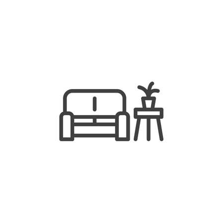 Sofa and Coffee table with plant line icon. linear style sign for mobile concept and web design. Waiting room interior outline vector icon. Symbol, illustration. Vector graphics