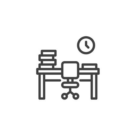 Office workplace desk with books line icon. linear style sign for mobile concept and web design. Office desk with chair and clock outline vector icon. Symbol, illustration. Vector graphics