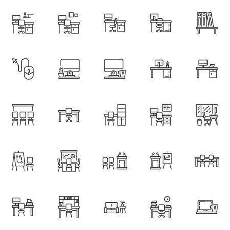 Set di icone della linea di lavoro di ufficio. raccolta di simboli in stile lineare, pacchetto di segni di contorno. grafica vettoriale. Il set include icone come scrivania sul posto di lavoro con monitor del computer, sedia, schermo di presentazione, finestra