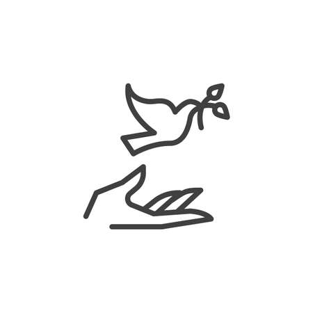Hand and pigeon line icon. linear style sign for mobile concept and web design. Dove with olive branch and hand outline vector icon. Freedom and peace symbol, illustration. Vector graphics