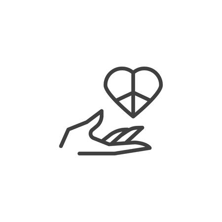 Love peace day line icon. linear style sign for mobile concept and web design. Hand with peace heart outline vector icon. Symbol, logo illustration. Vector graphics Ilustrace