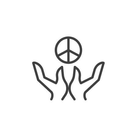 Hands with peace sign line icon. linear style sign for mobile concept and web design. Day of peace outline vector icon. Symbol, illustration. Vector graphics Illusztráció