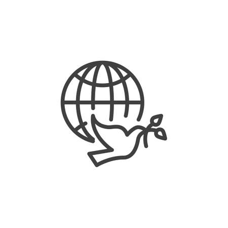 Dove of Peace line icon. linear style sign for mobile concept and web design. Pigeon with olive branch and world globe outline vector icon. Freedom symbol,  illustration. Vector graphics Illusztráció