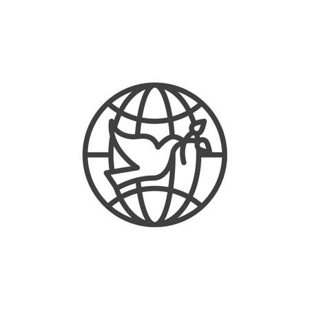 Pigeon with olive branch and world globe line icon. linear style sign for mobile concept and web design. Dove of Peace outline vector icon. Freedom symbol, illustration. Vector graphics