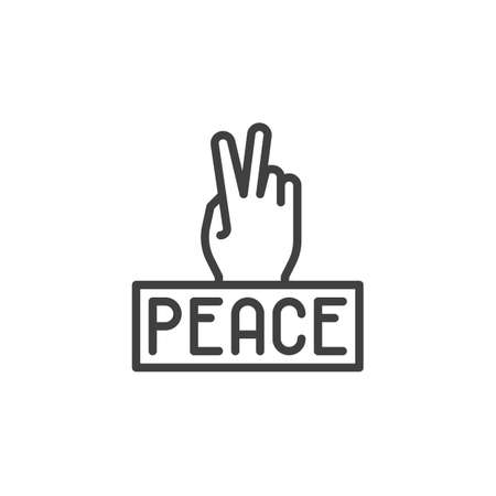Peace Sign Hand line icon. linear style sign for mobile concept and web design. Hand gesture V sign for victory or peace outline vector icon. Symbol,  illustration. Vector graphics