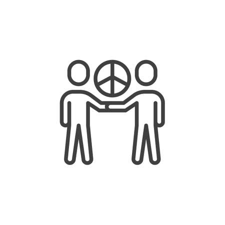 People friendship with peace sign line icon. linear style sign for mobile concept and web design. International Day of Peace outline vector icon. Symbol,  illustration. Vector graphics Illusztráció