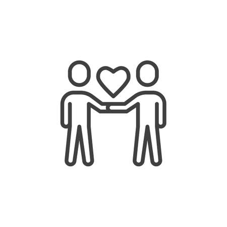 Couple people with heart line icon. linear style sign for mobile concept and web design. Love and friendship outline vector icon. Symbol, illustration. Vector graphics