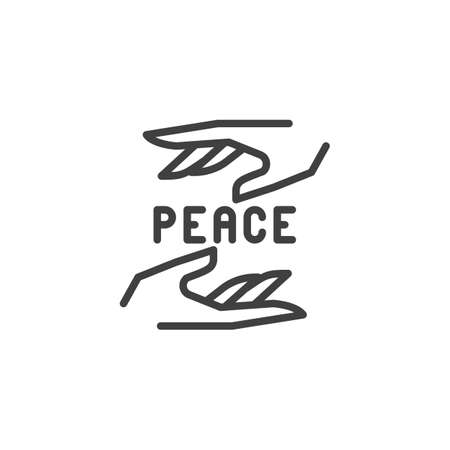 Hands with peace sign line icon. linear style sign for mobile concept and web design. Day of peace outline vector icon. Symbol,  illustration. Vector graphics