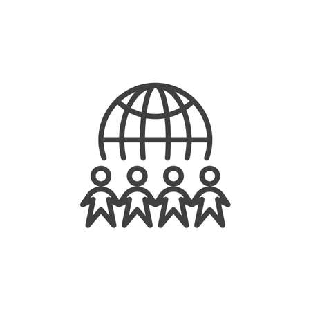 International Day of Peace line icon. linear style sign for mobile concept and web design. Planet Earth with people hold hands outline vector icon. Symbol, illustration. Vector graphics