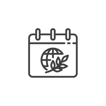 Calendar peace day line icon. linear style sign for mobile concept and web design. Calendar page with world globe and olive branch outline vector icon. Symbol, illustration. Vector graphics