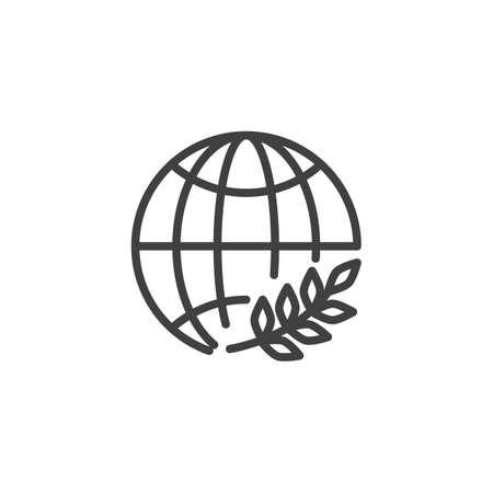 Day of Peace line icon. linear style sign for mobile concept and web design. World globe with olive branch outline vector icon. Symbol,  illustration. Vector graphics