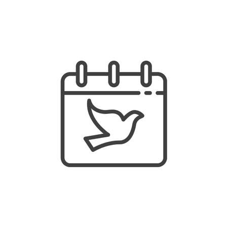 International day of peace line icon. linear style sign for mobile concept and web design. Calendar with dove outline vector icon. Freedom symbol,  illustration. Vector graphics 일러스트