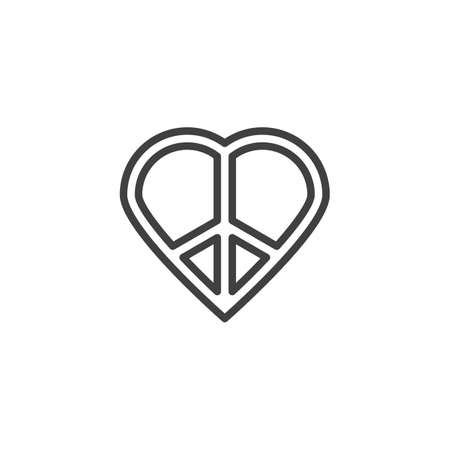 Love peace line icon. linear style sign for mobile concept and web design. Heart peace outline vector icon. Pacifism symbol, illustration. Vector graphics