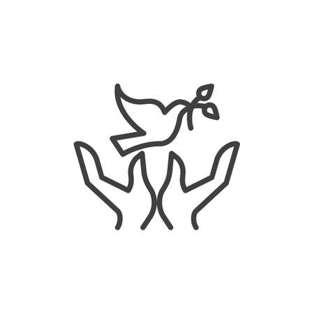 Dove with olive branch and hands line icon. linear style sign for mobile concept and web design. Freedom and peace outline vector icon. Symbol,  illustration. Vector graphics