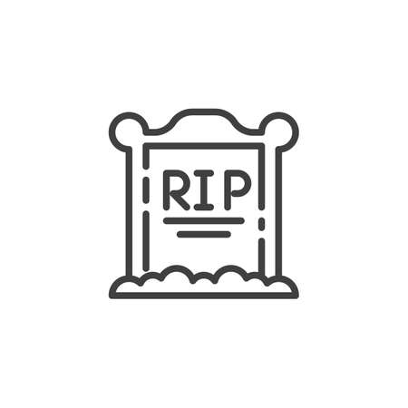 Tombstone on the grave line icon. linear style sign for mobile concept and web design. Gravestone outline vector icon. Halloween symbol, illustration. Vector graphics Ilustracja