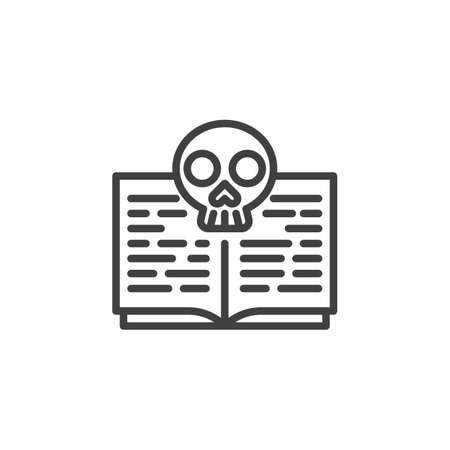 Death spell book book line icon. linear style sign for mobile concept and web design. Halloween book with skull outline vector icon. Symbol, illustration. Vector graphics