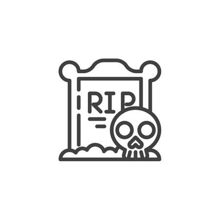 Tombstone with a skull line icon. linear style sign for mobile concept and web design. Halloween gravestone and skeleton outline vector icon. Symbol, illustration. Vector graphics Ilustracja