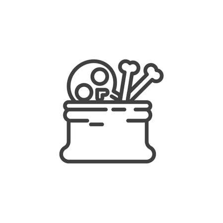 Skeleton bones sack line icon. linear style sign for mobile concept and web design. Halloween sack with skulls outline vector icon. Symbol, illustration. Vector graphics Ilustração