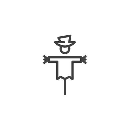 Spooky scarecrow line icon. linear style sign for mobile concept and web design. Halloween, scarecrow outline vector icon. Symbol,  illustration. Vector graphics Ilustracja