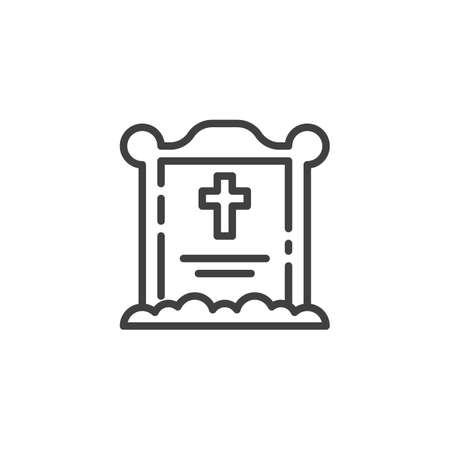 Halloween grave line icon. linear style sign for mobile concept and web design. Tombstone with cross outline vector icon. Symbol, illustration. Vector graphics