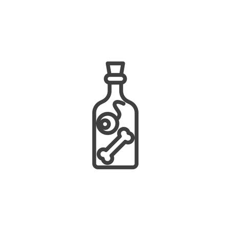 Potion preparation bottle line icon. linear style sign for mobile concept and web design. Witch bottle with eyeball and human bone outline vector icon. Symbol, illustration. Vector graphics