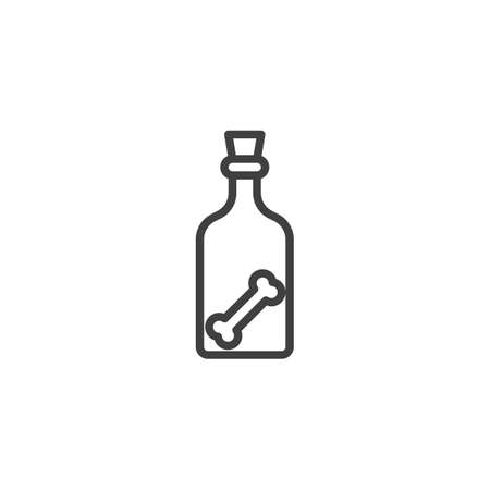 Halloween bottle with human bone line icon. linear style sign for mobile concept and web design. Witch bottle outline vector icon. Symbol,  illustration. Vector graphics Иллюстрация