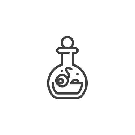 Halloween potion bottle line icon. linear style sign for mobile concept and web design. Witch bottle with human eyeball outline vector icon. Symbol, illustration. Vector graphics