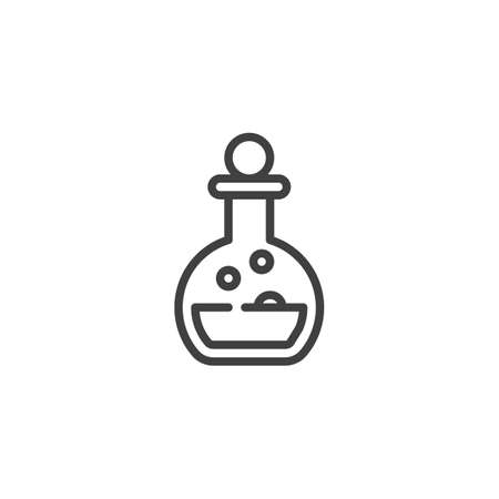 Elixir bottle line icon. linear style sign for mobile concept and web design. Potion flask outline vector icon. Alchemy symbol,  illustration. Vector graphics