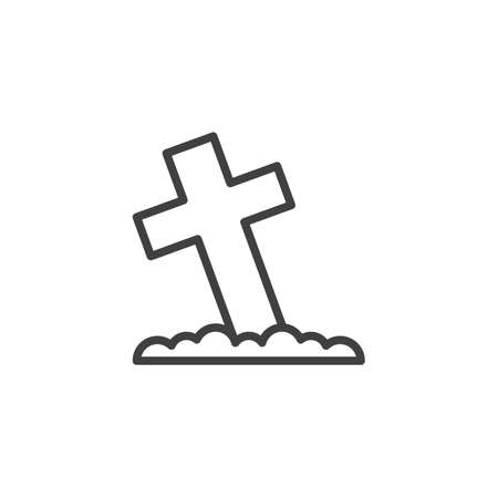 Graveyard cross line icon. linear style sign for mobile concept and web design. Cemetery cross outline vector icon. Symbol, illustration. Vector graphics  イラスト・ベクター素材