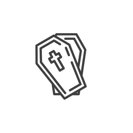 Halloween Coffin with cross line icon. linear style sign for mobile concept and web design. Open coffin outline vector icon. Symbol, illustration. Vector graphics